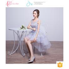Helles Purpur im Art-Kurzschluss-reizvolles Sleeveless Spitze Appliqued Brautjunfer-Kleid