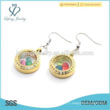 Fashion stainless steel gold crystal floating earring jewelry wholesale
