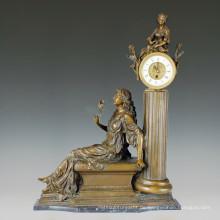 Uhr Statue Blume Dame Bell Bronze Skulptur Tpc-010