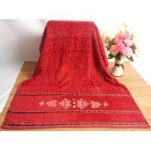 Hilo teñido con dibujos toallas de baño rojas