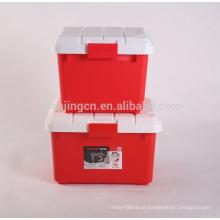 Caixa de armazenamento plástica de múltiplos propósitos 30L quadrada / caixa de armazenamento plástica colorida do escaninho resistente do armazenamento do homeware do carro