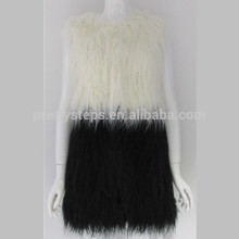 Pretty steps 2015 cream white and black assorted color sleeveless long fur jacket