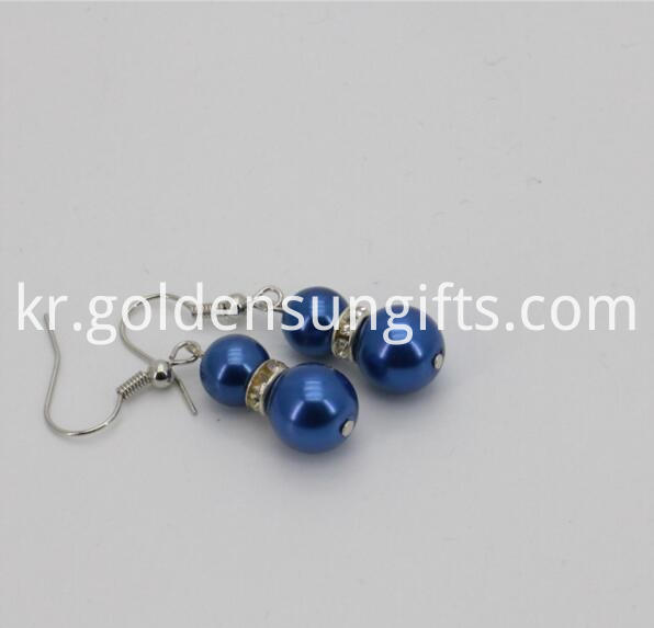Blue Sea Shell Pearl Bead Earrings