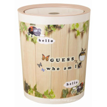 Flip-on Fashion Round Plastic Toilet Pail Paper Basket (FF-5257-1)