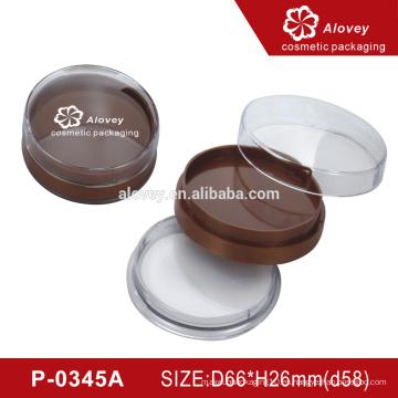 OEM compacto polvo compacto caja contenedor con soplo