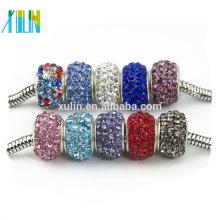 Cuentas de diamantes de imitación de estilo europeo gran agujero perlas rondelle