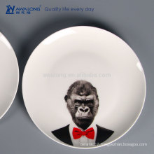 Animal Printing Ceramic Plates Dishes, Chinese Porcelain Ceramic Tableware For Customization