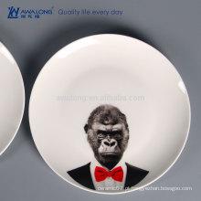Animal impressão pratos cerâmicos pratos, porcelana chinesa talheres de cerâmica para personalização