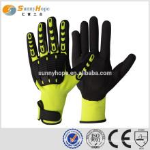 SUNNYHOPE Luvas amarelas de segurança de alta qualidade TPR na parte de trás