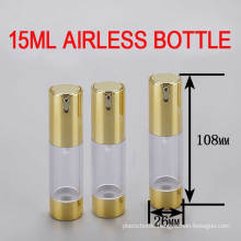15ml Gold Airless Packaging Bottle, Cosmetic Lotion/Serums Plastic Bottle