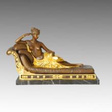 Klassische Figur Bronze Skulptur Pauline Bonaparte Dekor Messing Statue TPE-134 (J) / 495 (J)