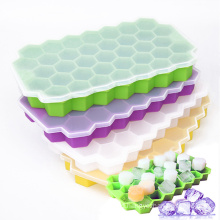 wholesale food grade 37 cavity popsicle mold honeycomb silicone ice cube trays maker with lid and bin