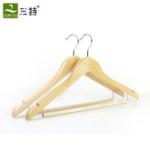 gancho de roupa de madeira barato do hotel com barra