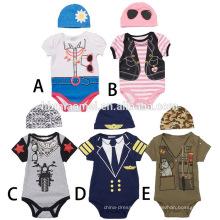 Venta al por mayor traje de una pieza mono mameluco de manga corta impreso bebé Onesie mono bebé con sombrero