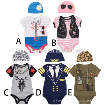 Wholesale One-pieces Suit Jumpsuit Romper Short Sleeve Printed Baby Onesie Jumpsuit Baby With Hat