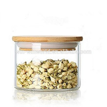 Bouteille de stockage de thé en verre transparent libre en gros promotionnel de BPA avec le couvercle hermétique de bambou