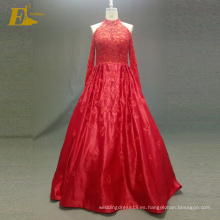 ED nupcial elegante fuera del hombro una línea de cuentas de vestidos de noche rojo con manga larga