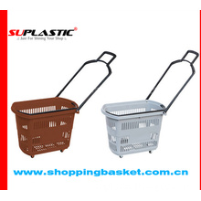 towable shopping basket with casters