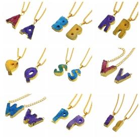 Colorful Crystal Alphabet Letter Pendant Necklace