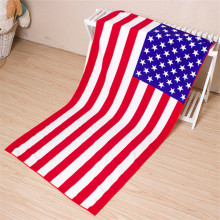 Printed American Flag Beach Towels with Tassels