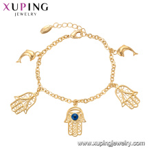 75137 Xuping personalized style special hand fish gold chain bracelet with evil eye jewelry
