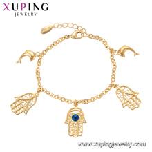 75137 Xuping estilo personalizado mão especial peixe pulseira de corrente de ouro com jóias olho mal