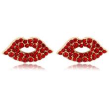 Exaggerated Geometric Earrings Female New Color Crystal Big Lips Earrings Female