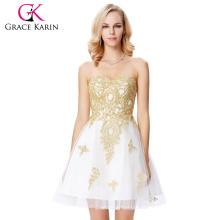 Grace Karin Strapless Sweetheart Golden Appliqued Branco Beaded Tulle Cocktail Dress GK000138-1