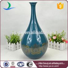 wine-bottle shape sapphire ceramic chinese large vase