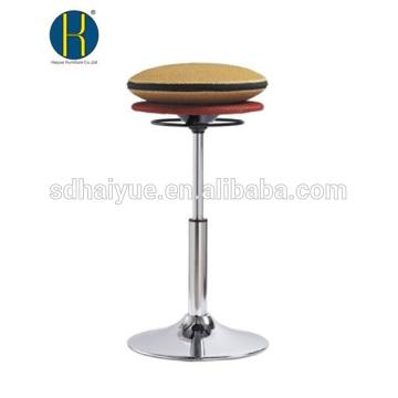Taburete redondo del taburete de la computadora del asiento redondo de la malla del amarillo del diseño de la venta caliente con la base del cromo