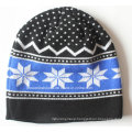 Custom Made Logo Acrylic Jacquard Knit Winter Sports Snow Daily Wool Beanie