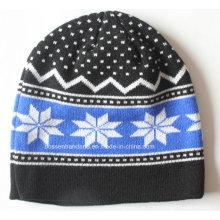 Custom Made Logo Acrílico Jacquard Knit inverno esportes Snow Daily Beanie lã