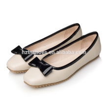 Fashion lady flat shoe thin antiskid rubber sole square toe women's dress shoes ladies office flat work shoes with bowtie
