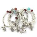 6 centímetros pulseiras de prata flexível com contas de flores e Bell