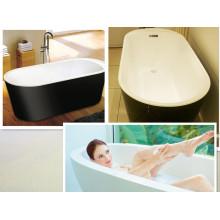 Color Black Skirt White Tub Baño de pie libre