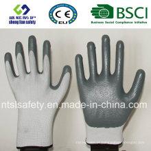 Capa de poliéster 13G com luvas de trabalho revestidas de nitrilo (SL-N101)
