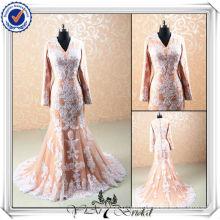 JJ0067 Musilm длинные рукава Русалка кружева длинные рукава кнопки свадебное платье
