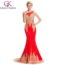 Grace Karin 2016 sin mangas de oro elegante Appliques vestido de fiesta rojo vestido de noche Abendkleid GK000026-3