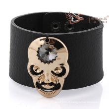 Bracelets en cuir large avec crâne, Bracelets en cuir pour hommes 2014 Bracelets en cuir de nouvelle conception