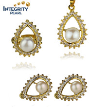 Elegant Pearl Set Jewelry 8.5-9mm AAA Freshwater Pearl Set Designs