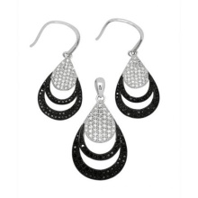 Micro Pave Setting 925 Silver Jewelry Set Fashion Jewelry