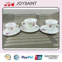 Steingut China Kaffeetassen und Untertassen