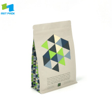 100% Bio Compostable Stand Up Box Inferior Bolsa de café con cremallera
