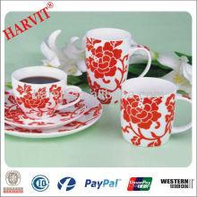 Rouge décoratif New Bone China Coffee Tea Set Bulk Acheter de Chine