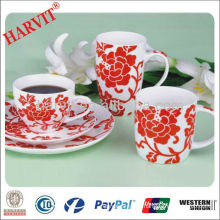 Red Decorative New Bone China Coffee Tea Set Bulk Buy From China