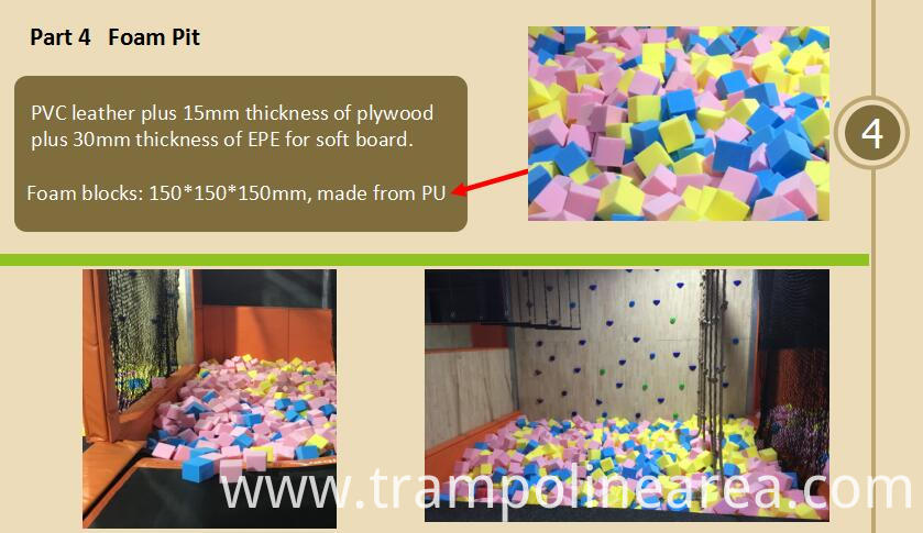 Foam pit of indoor trampoline arena