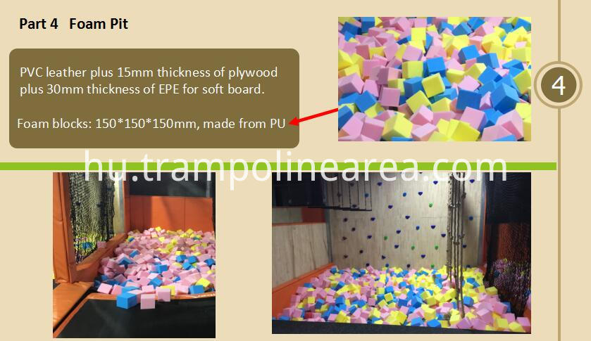Foam pit of indoor trampoline park basketball