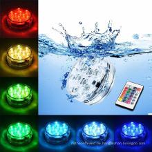 RGB 10 führte Unterwasserbatterie-betriebene IP68 wasserdichte Unterwasserpool-Hochzeitsfest-Piscina-Teich-Beleuchtung
