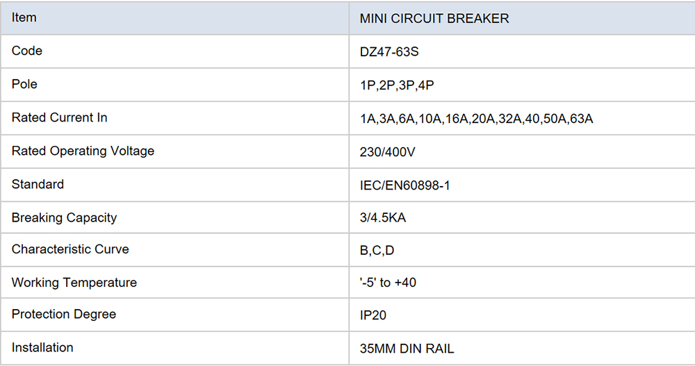 DZ47-63S Mini Circuit Breaker Parameter