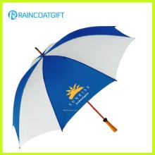 Guarda-chuva de cabo de madeira reta de abertura automática para promoção